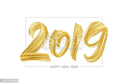 Vector illustration: Hand drawn brush stroke golden paint lettering of 2019. Happy New Year