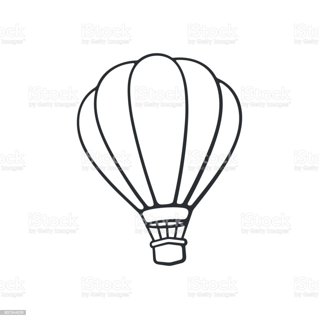 hand drawn doodle of hot air balloon air transport for travel