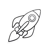 Vector illustration. Hand drawn doodle of rocket space with a flame from a turbine. Cartoon sketch. Isolated on white background