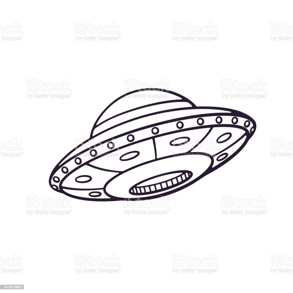 Ilustración De Vector Doodle Dibujado Mano De Nave Espacial De ...