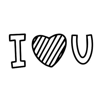 Download Vector Illustration Hand Drawn Lettering I Love You Black ...