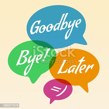 Vector illustration - Hand drawn speech bubble. Set with text (goodbye, bye, later). Speech bubble colorful set.