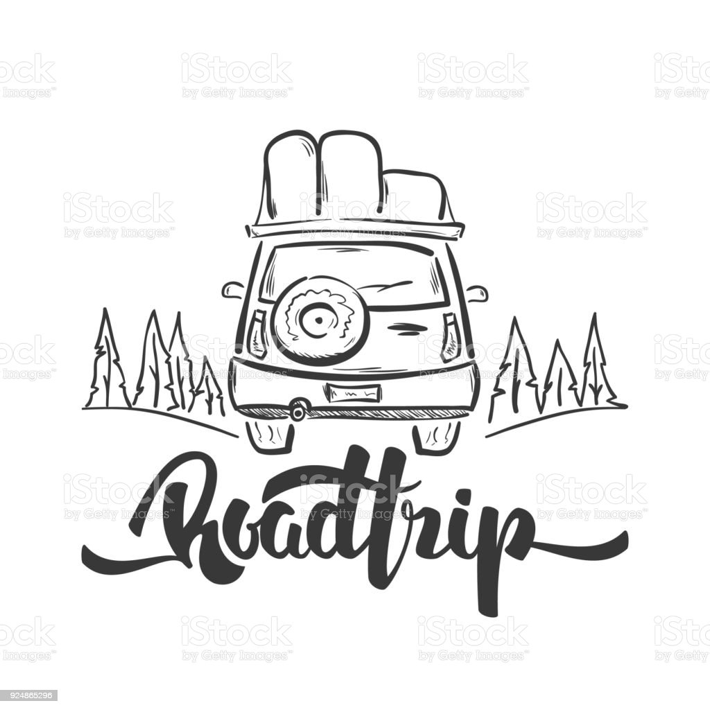 Vector Illustration Hand Drawn Travel Car And Handwritten Lettering Of Road Trip Sketch Line