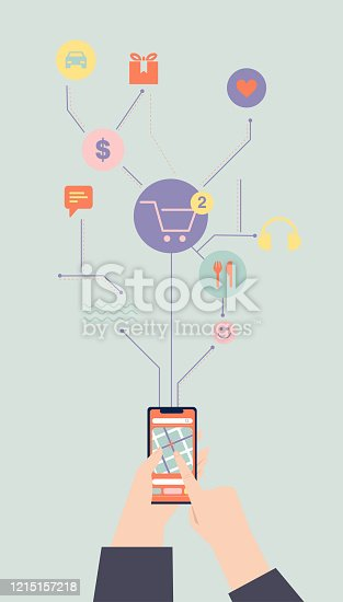 istock Vector illustration. Hand holding and using smartphone. 1215157218