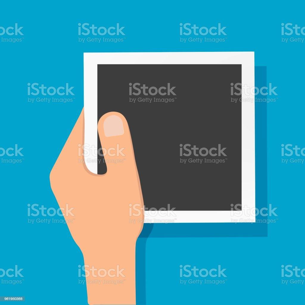 Vektor-Illustration Hand ein Mann hält ein Foto. Comic-Bild eine Hand und ein leeres Foto – Vektorgrafik