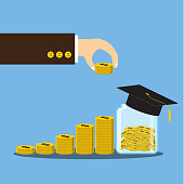 Vector illustration, Hand putting coin on stack growth financial, save money and investment for scholarship concept