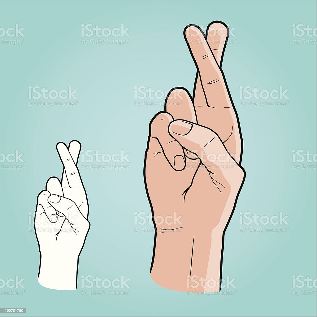 Vector illustration - Hand with fingers crossed vector art illustration