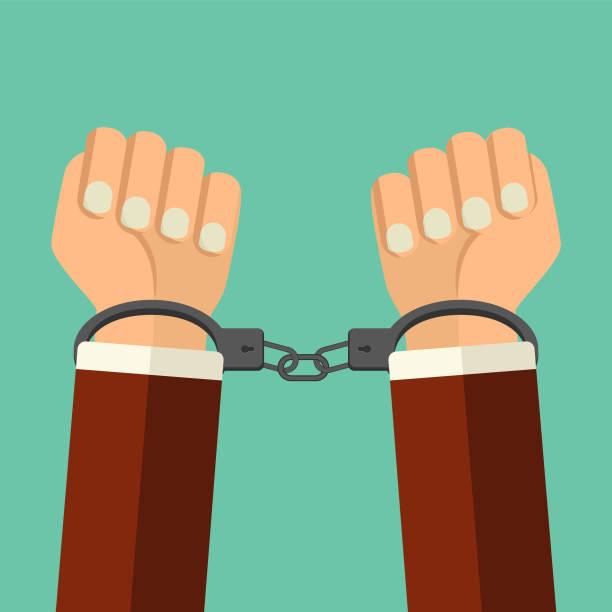 Vektor-Illustration Handschellen auf den Händen der kriminellen Mann. Mann in Handschellen flache Abbildung verhaftet. Ein Verbrechen, Verhaftung, Wirtschaft und Korruption Konzept. – Vektorgrafik