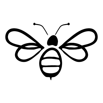Vector Illustration Hand-drawn Silhouette Of A Bee