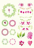Set of round frame made of various leaves in watercolor. Hand-painted watercolor design elements. Floral motifs. Green & pink set
