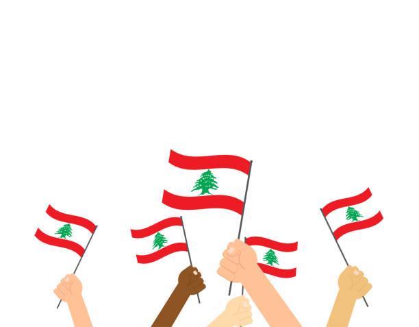 vector illustration hands holding lebanon flags on white background - lebanon stock illustrations