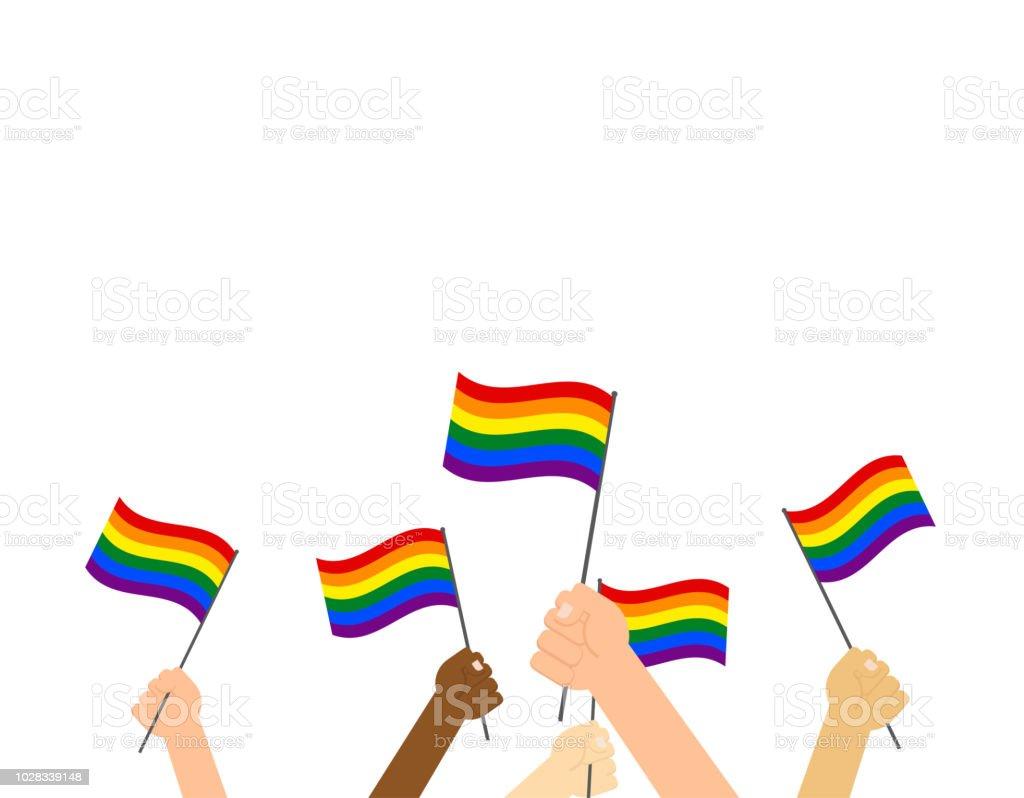 Manos de ilustración vectorial que LGBT orgullo bandera - orgullo feliz día bandera - ilustración de arte vectorial