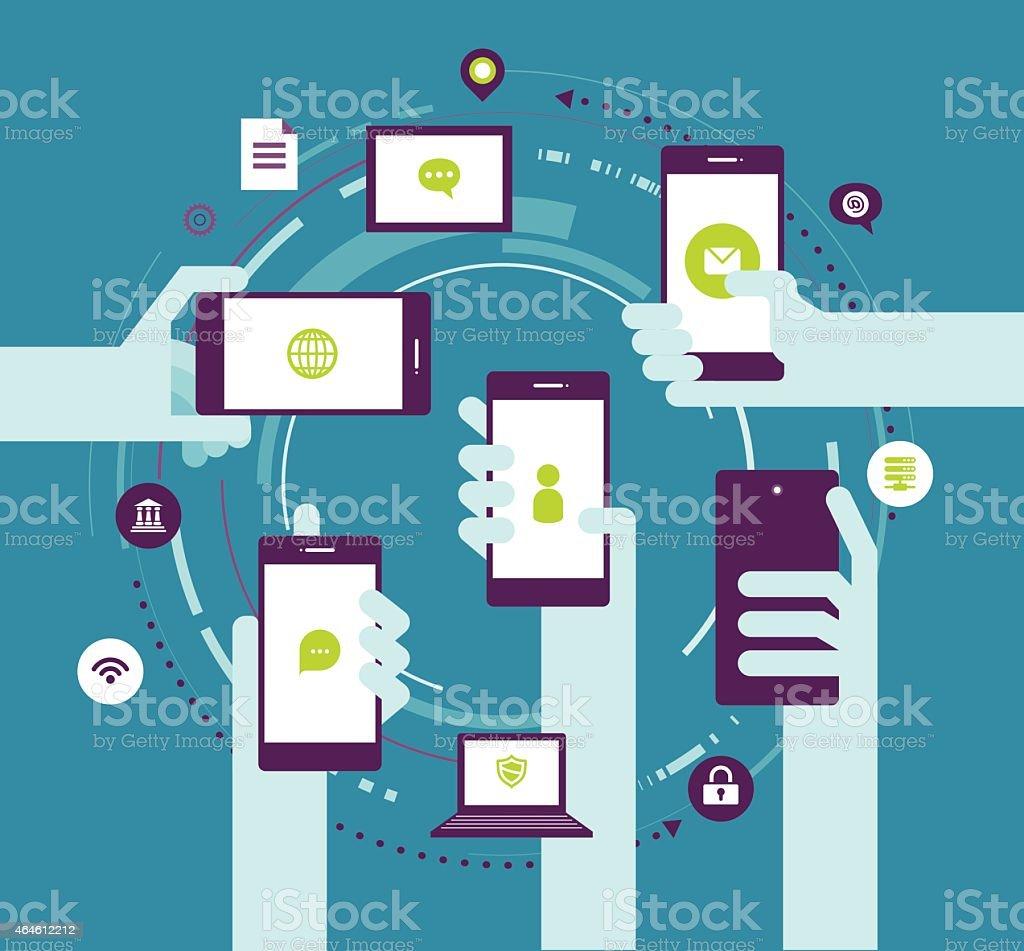 Vector illustration - Hands holding phones vector art illustration