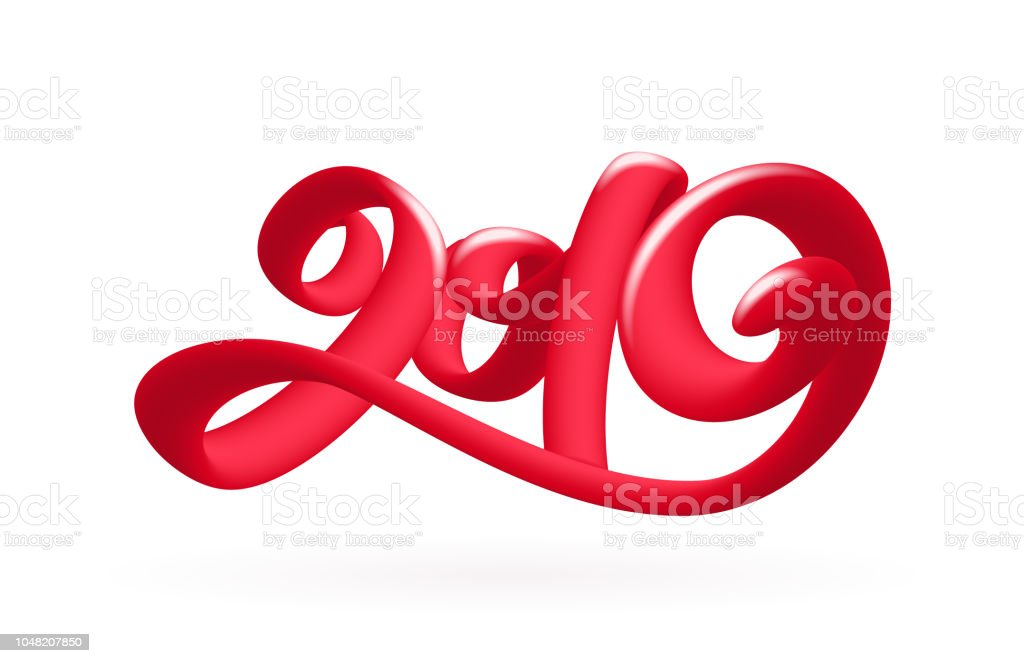 vector illustration handwritten 3d calligraphic number lettering of 2019 on white background happy new