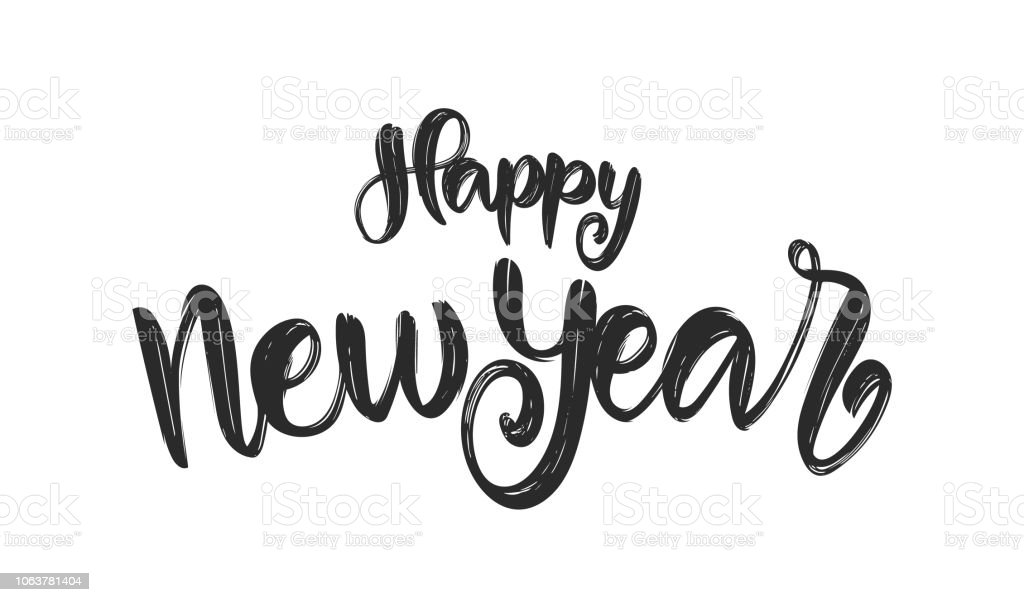 handwritten brush textured lettering of happy new year on white background royalty