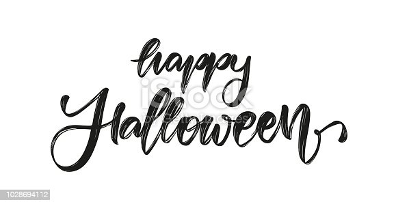 Vector illustration: Handwritten brush textured lettering of Happy Halloween on white background