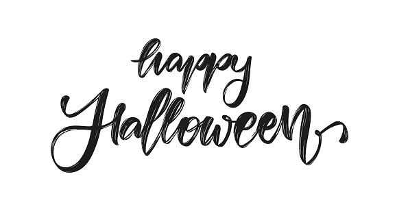 Vector illustration: Handwritten brush textured lettering of Happy Halloween on white background.