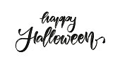 Vector illustration: Handwritten brush textured lettering of Happy Halloween on white background
