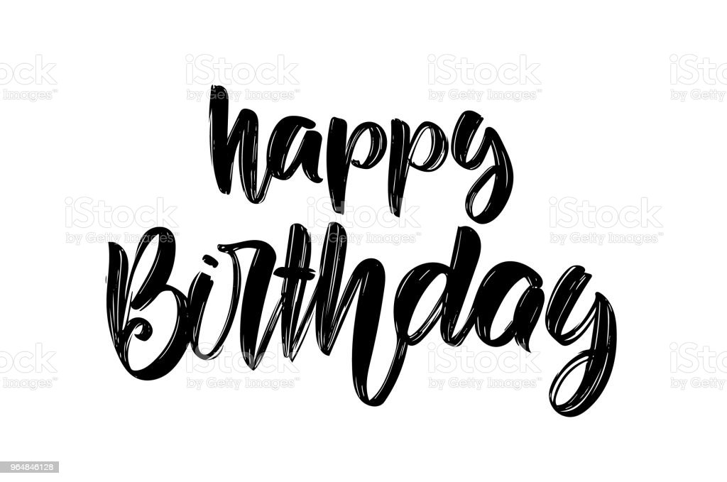 Vector illustration: Handwritten brush type lettering composition of Happy Birthday on white background. Greeting card. royalty-free vector illustration handwritten brush type lettering composition of happy birthday on white background greeting card stock vector art & more images of art