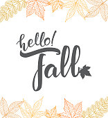 Vector illustration: Handwritten lettering of Hello Fall on hand drawn leaves background. Outline sketch design