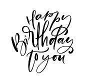 Vector illustration handwritten modern brush lettering of Happy Birthday text on white background. Hand drawn typography design. Greetings card.