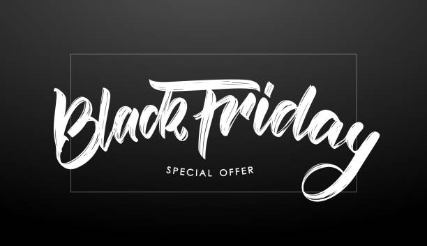 Vector illustration: Handwritten modern brush type calligraphic lettering of Black Friday in frame on dark background. Vector illustration: Handwritten modern brush type calligraphic lettering of Black Friday in frame on dark background black friday sale stock illustrations