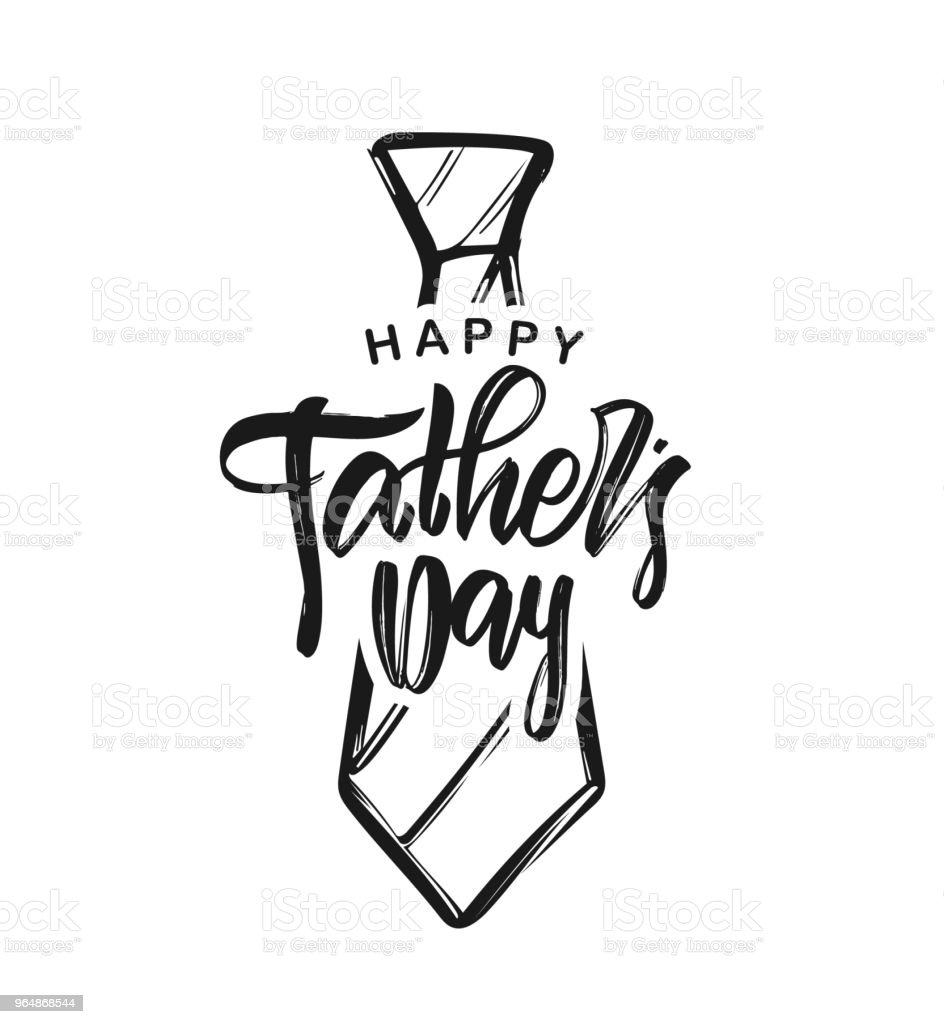 Vector illustration: Handwritten type lettering of Happy Father's Day with hand drawn tie on white background. royalty-free vector illustration handwritten type lettering of happy fathers day with hand drawn tie on white background stock vector art & more images of art