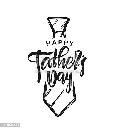 Vector Illustration Handwritten Type Lettering Of Happy Fathers Day With Hand Drawn Tie On White Background Stock Vector Art & More Images of Art 964868544