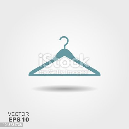 Vector illustration hanger for clothes. Flat icon whit shadow