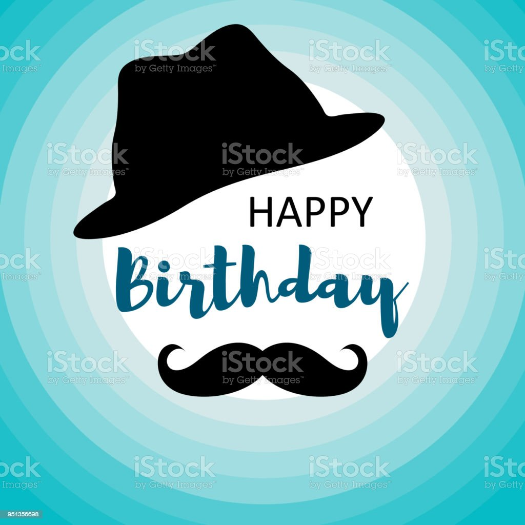 Happy Birthday Card For Men On Blue Circles With Mustache And Hat Vector