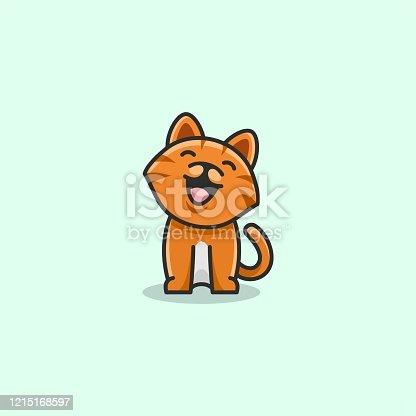istock Vector Illustration Happy Cat Simple Mascot Style 1215168597