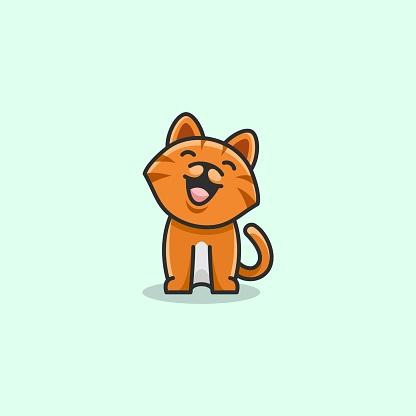 Vector Illustration Happy Cat Simple Mascot Style