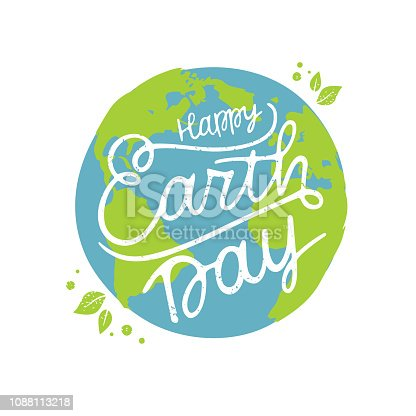 Happy Earth Day handwritten lettering with the globe. Happy Earth Day  typography vector design for greeting cards and poster. Design template celebration. Vector illustration.