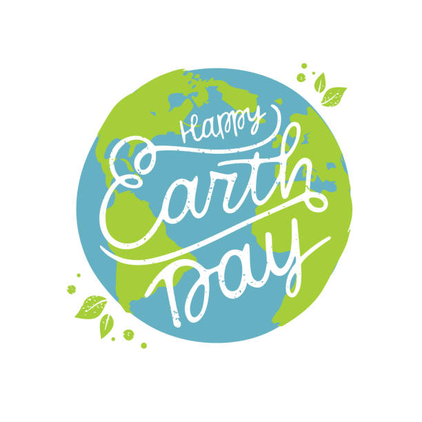 Vector illustration Happy Earth Day Happy Earth Day handwritten lettering with the globe. Happy Earth Day  typography vector design for greeting cards and poster. Design template celebration. Vector illustration. earth day stock illustrations