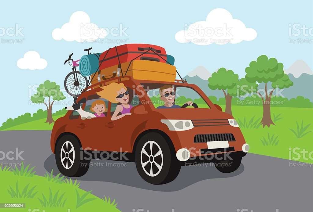 Vector Illustration - Happy family travelling by car - Illustration vectorielle