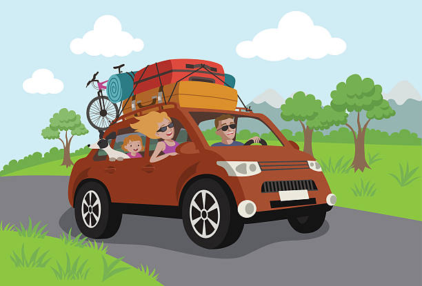 vector illustration - happy family travelling by car - family trips stock illustrations
