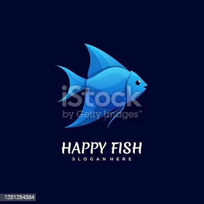 Vector Illustration Happy Fish Gradient Colorful Style.