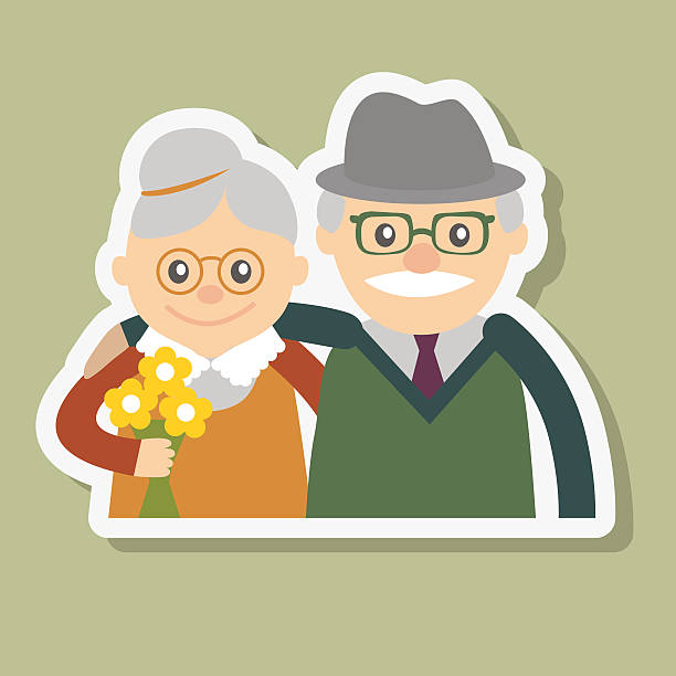 vector illustration. happy grandparents day. - old man smiling backgrounds stock illustrations, clip art, cartoons, & icons