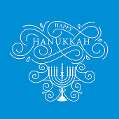 Vector illustration. Happy Hanukkah typography vector design for greeting cards and poster design template celebration. Happy Hanukkah beautiful inscription, lettering.