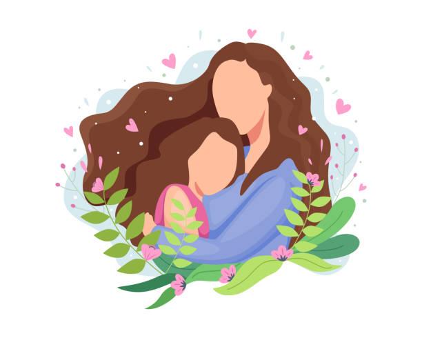 ilustraciones, imágenes clip art, dibujos animados e iconos de stock de ilustración vectorial día feliz de las madres - hija