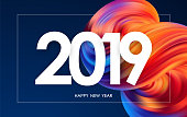 Vector illustration: Happy New Year 2019. Greeting card with colorful abstract fluid shape. Trendy design
