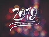 Vector illustration Happy New Year 2019