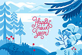 Vector illustration in trendy flat  style - background with copy space for text - winter landscape - background for banner, greeting card, poster and advertising - happy new year and Christmas holidays