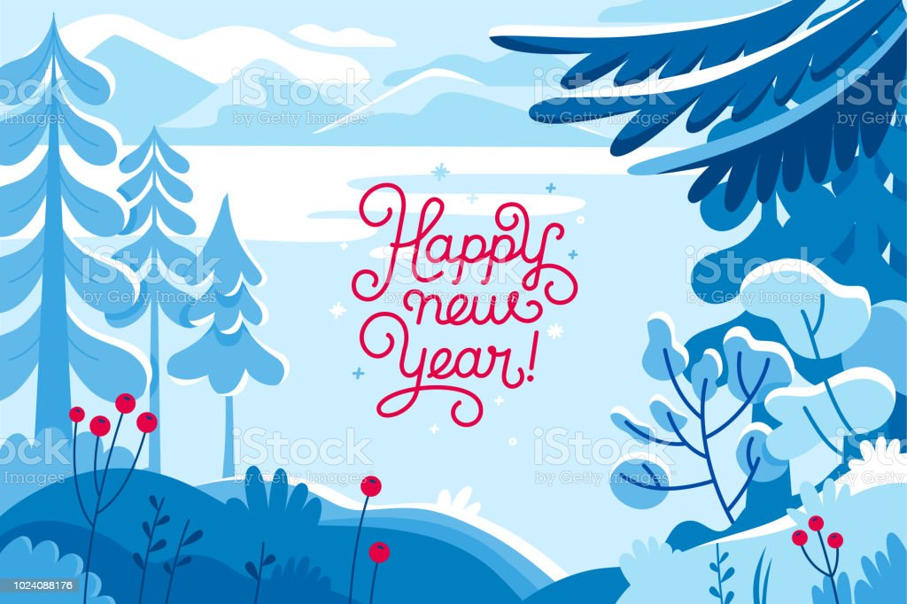 Vector illustration - happy new year and Christmas holidays - winter landscape vector art illustration