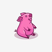 Vector Illustration Happy Pig Simple Mascot Style.