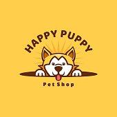 Vector Illustration Happy Puppy Cute Cartoon Style.