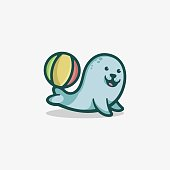 Vector Illustration Happy Seal Simple Mascot Style.