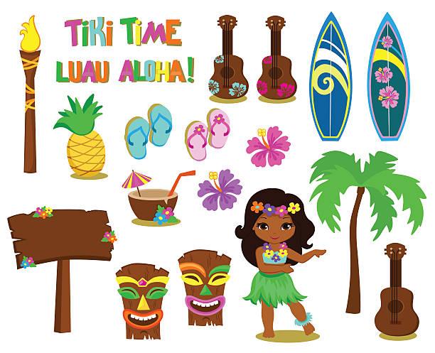 vector illustration hawaiian collection. - hawaiian lei stock illustrations, clip art, cartoons, & icons