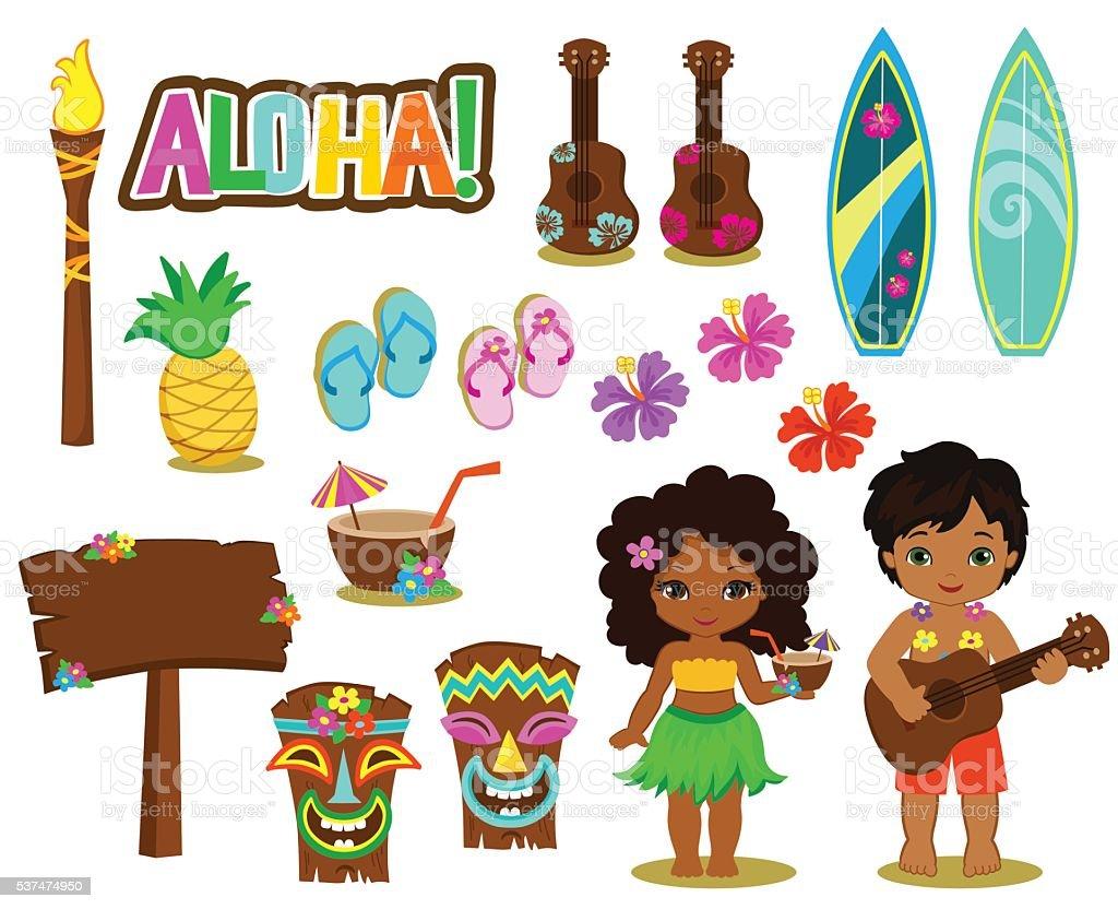 Vector illustration Hawaiian Collection. royalty-free vector illustration hawaiian collection stock illustration - download image now