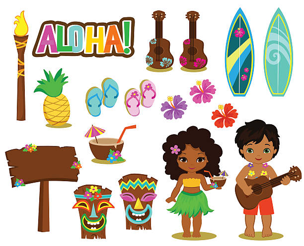 Vector illustration Hawaiian Collection. Vector illustration Hawaiian Collection. big island hawaii islands stock illustrations